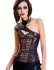 Brown Leather Overbust Corset Buckles One Shoulder Loverbeauty