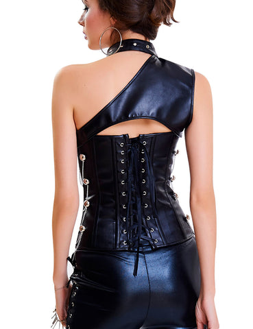 Romance Faux Leather Two Piece Corset Metal Buckle Chains Ultra Hot