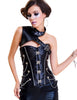 Steampunk Leather Corset Steel Boned Overbust One Shoulder|Loverbeauty