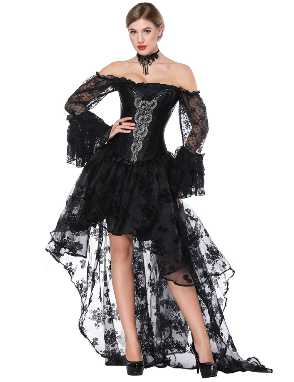 Royal Flounce Off Shoulder Corset Skirt Set Floral Pattern High Elasticity - loverbeauty