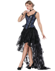 Slinky Tie Back Wide Strap Corset Lace Asymmetric Skirt Functional - loverbeauty