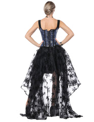 Slinky Tie Back Wide Strap Corset With Lace Asymmetric Skirt - loverbeauty