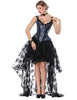 Slinky Tie Back Wide Strap Corset Lace Asymmetric Skirt Functional