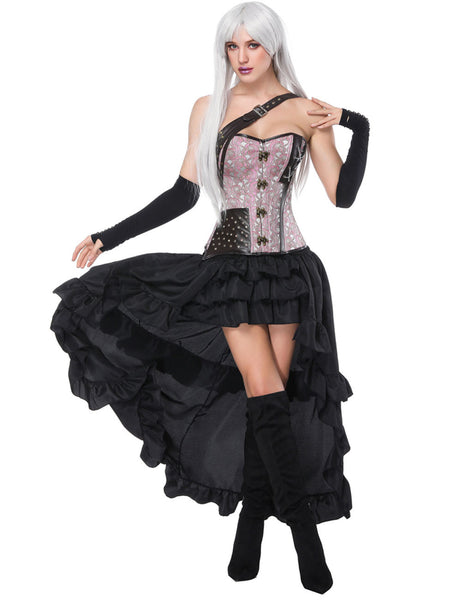 Sophisticated Lace Up Corset Skirt Set Chain Cross One Strap Natural Shaping
