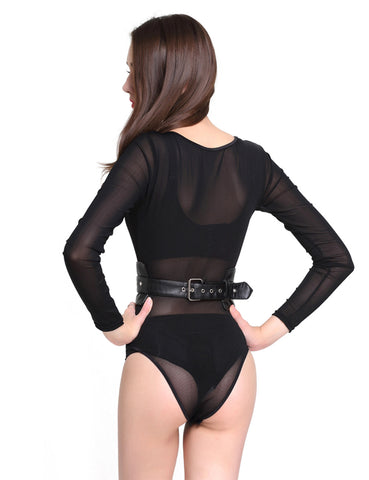 Tempting Black Corset Belt Studded O Ring Adjustable Buckle Comfort Fashion