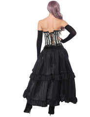 Sexy Burlesque Overbust Corset With Tummy Control Layered Skirt - loverbeauty