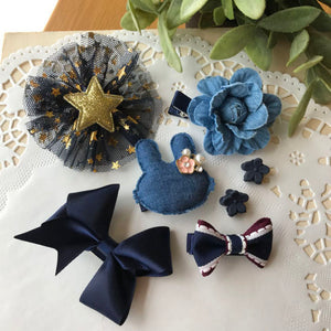 7 pieces Girls Hair pins with Bunny and Bowes Clips  - Denim Blue