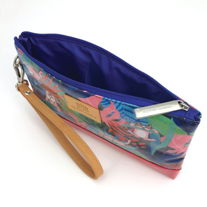 Padded Organizer Pouch with leather handle strap