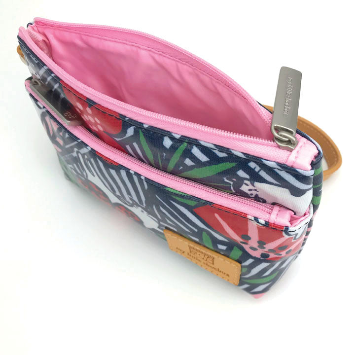 2-Zipper Organizer Pouch with leather handle strap