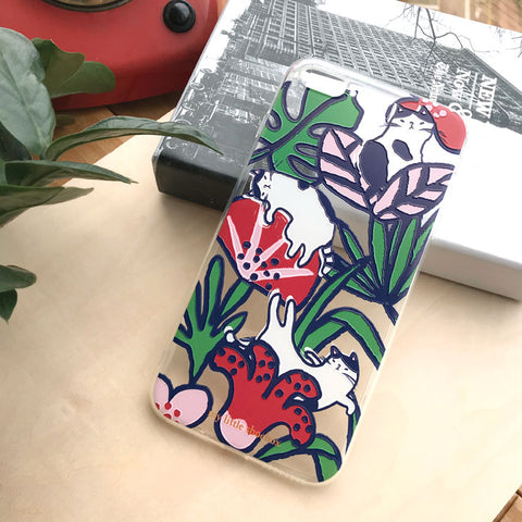 My Little Shoebox Flower hibiscus Tropical Cat Phone Case soft TPU case iPhoneX Iphone8 Iphone7 Samsung s8