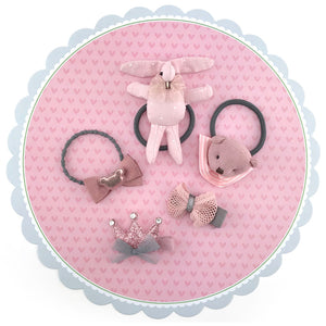 5 pieces Girls Hair Rubber Bands and Clips with Pink Bear Bunny Bowes Crown - Pink