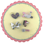 5 pieces Girls Hair Clips with Swan Heart Bow Horse Flower - Silver
