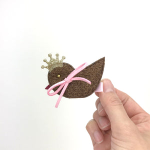 5 pieces Girls Hair Clips with Bunny Bird Cat Bowes - Brown