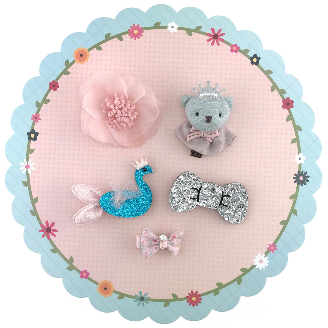 5 pieces Girls Hair Clips with Bear Swan Flower Bowes - Light Pink