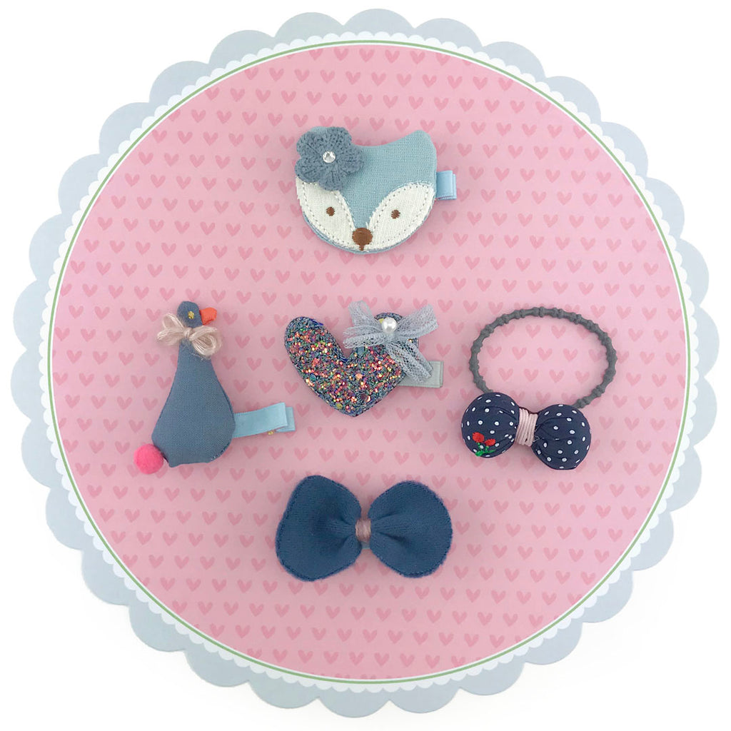 5 pieces Girls Hair Rubber Band and Clips with Fox Duck Heart Bowes - Light Blue