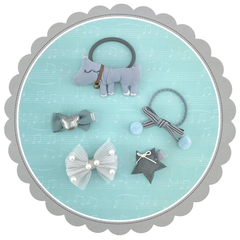 5 pieces Girls Hair Rubber Band and Clips with Dog Stars Bowes - Gray