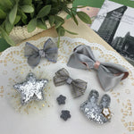 7 pieces Girls Hair pins with Bunny and Bowes Clips - Silver