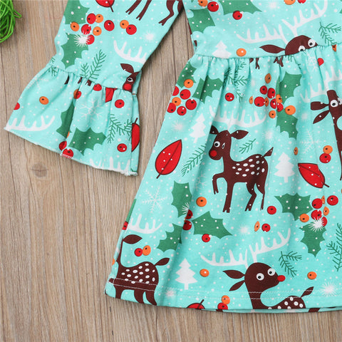 Pretty Xmas Deer Pattern Trumpet Dress for Girl – KiddoHouse