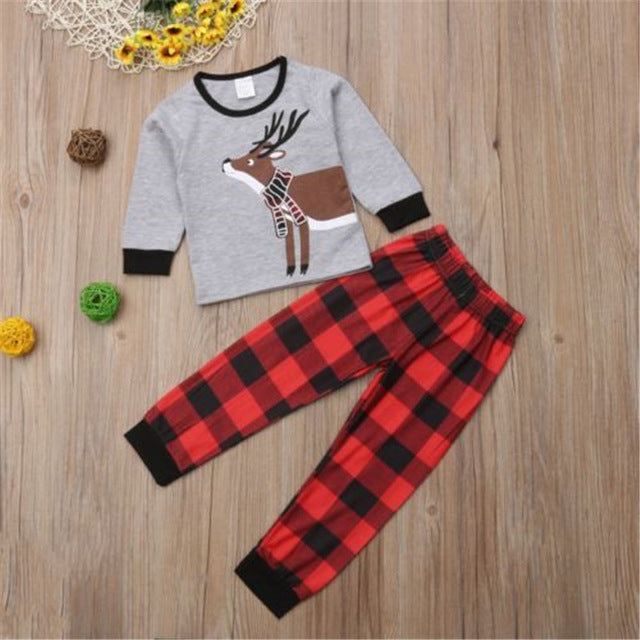 e33dc6526 Lovely Deer Print Christmas Long-sleeve Tee and Plaid Pants for Baby and  Toddler Boy