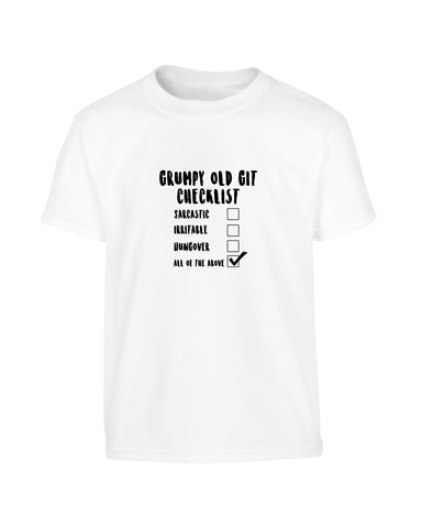 Funny Father's Day 2019 Grumpy Git Checklist T-Shirt (Unisex)