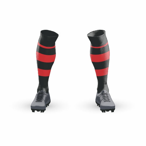Football Sock - Black with Red Hoops