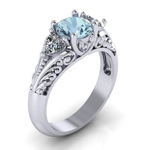 Antique Style Silver Round Cut Imitation Aquamarine Floral Engagement Promise Solitaire Ring - The Rogue's Clothes