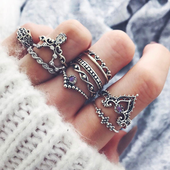 10 Pcs/set Gold Silver Bohemian Fatima's Hand Spiral Diamond Gem Finger Knuckle Rings Jewelry Gift - The Rogue's Clothes
