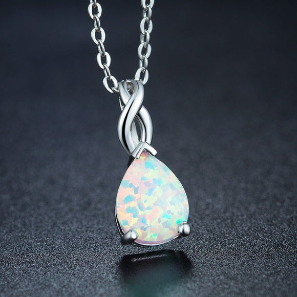 Noble Fine Jewelry Silveropal Water-drop Shaped Pendant Chain Necklace for Women