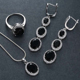 "Luxury Sterling Silver Black Imitation Sapphire Ring Earrings Necklace Jewelry Set 24"" Snake Chain"