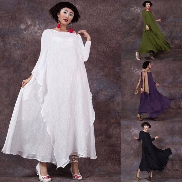 2018 S-5XL Women's Dress Vintage Shirred Solid Double Layers Robe Loose Casual Elegant Maxi Swing Dress - The Rogue's Clothes
