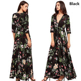 Womens Fashion Bohemian V Neck Print Big Swing Long Dress