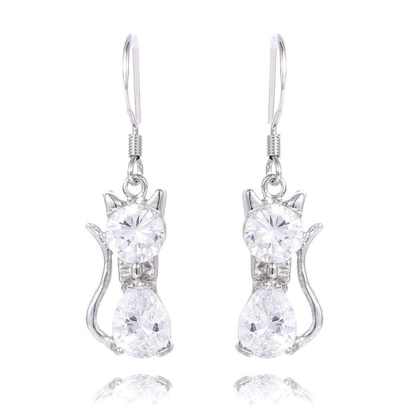1Pair Silver fashion Cubic Zirconia Lovely Animal Hoop Earrings - The Rogue's Clothes