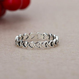 Heart Shaped Hollow Thumb Finger Silver Rings