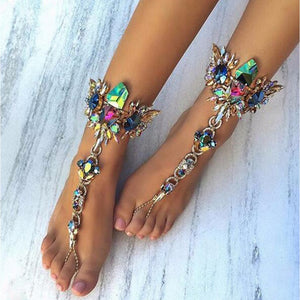 2017 New Luxury Crystal Rhinestones Gem Flower Pendant Anklet Chain Ankle Barefoot Sandals Foot Jewelry - The Rogue's Clothes