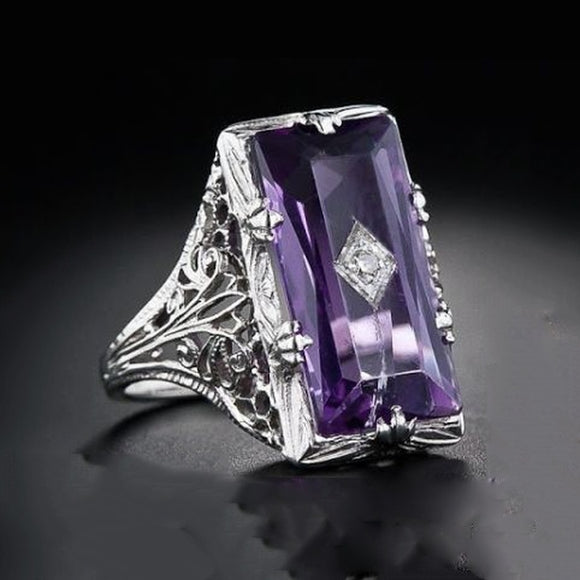Vintage Silver Ring Baguette Emerald Cut Amethyst Retro Hollow Diamond Jewelry Birthday Proposal Gift Antique Engag