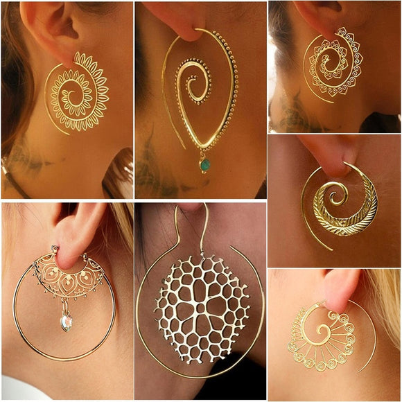 Gypsy Tribal Classics Spiral Hoop Earring Gold/Silver Plated Bohemian Style Swirls Drop Dangle Earrings Women Personality Jewelr