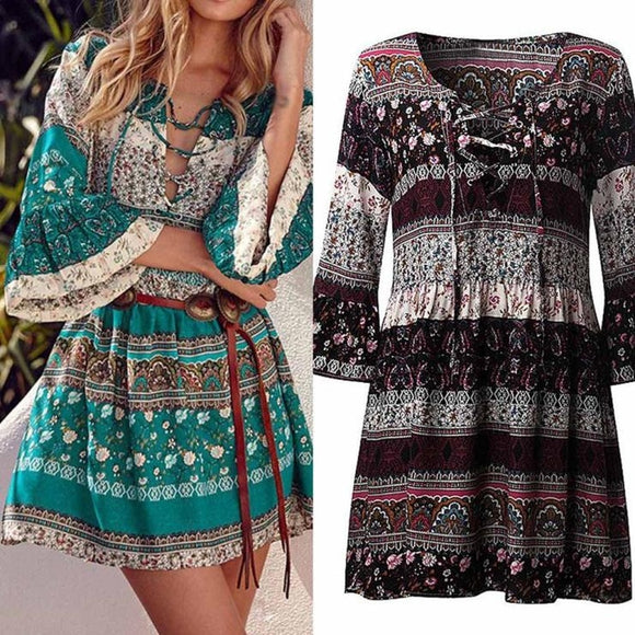 Hot Sale Women Floral Print Three Quarter Sleeve Boho Dress Ladies Evening Party Dress  Gift Vogue