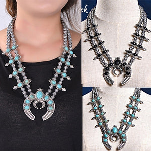 Faux Silver Turquoise Blossom Necklace Vintage Jewelry Beaded Zuni Inlay Large Coral