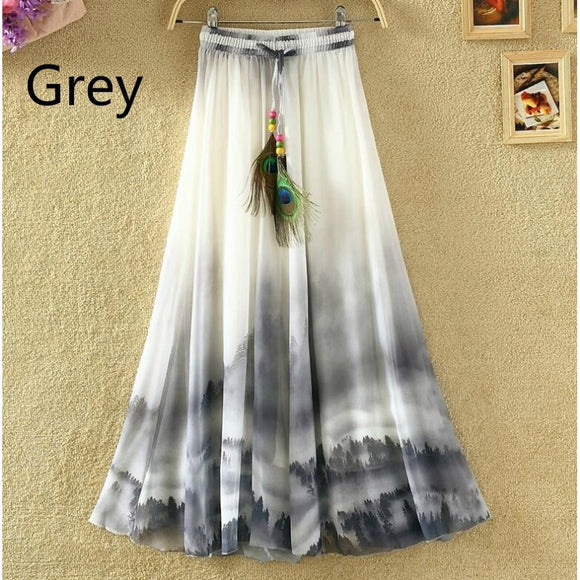 Fashion Women's Boho Bohemian Chiffon Summer Beach Long Maxi Dress Long Skirt