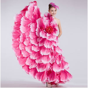 Flamenco dance costume dance expansion skirt costume modern dance performance wear clothes petal skirt spanish flamenco dress