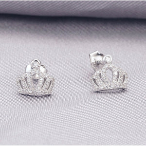 New Fashion Jewelry Lady Silver&crystal Crown Stud Earrings for Gifts