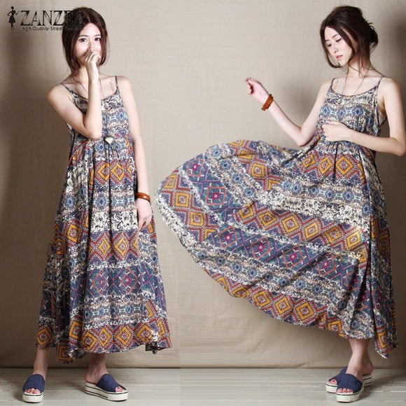 ZANZEA Bohemian Summer Beach Print Maxi Long Dress Sleeveless Loose Dresses