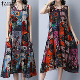 ZANZEA Women Fashion Sleeveless Loose Pockets A Line Dress Casual Print Dress