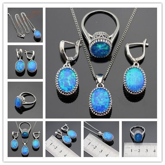 Vintage Oval Silver Jewelry Sets Australia Blue Opal Necklace Pendant Drop Earrings Ring For Women Wedding Gift