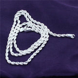 4mm Silver Twisted Rope Chain Necklace - The Rogue's Clothes
