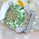 Large Silver SyntheticGemstone Prehnite Diamond Brand Ring Wedding Engagement Jewelry