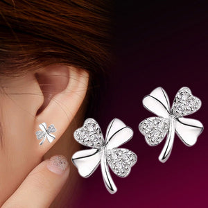 New Fashion Cute Lady Girl 925 Silver Plated Lucky 4-Leaf Ear Stud Earrings