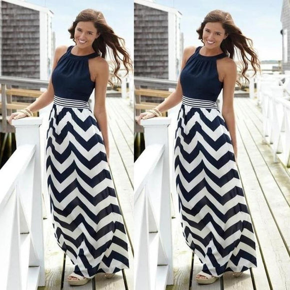 Women Sexy Striped Summer Boho Chiffon Long Maxi Dress Evening Party Beach Dress