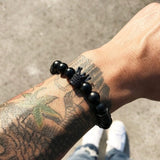 Exquisite Mens Charm Natural Stone Crown Beaded Bracelets & Bangles Rope Yoga Energy Beaded Bracelet for Men Women Party Casual