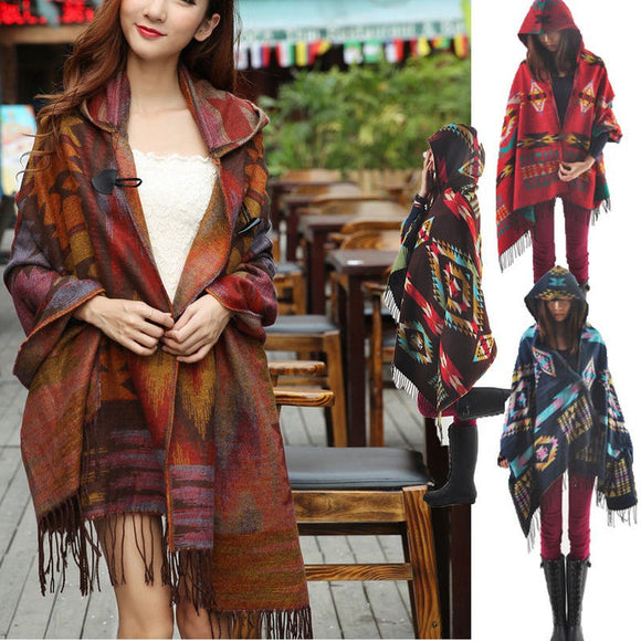 Women Fashion Bohemian Collar Plaid Cape Cloak Poncho Jacket Coat Shawl Scarf
